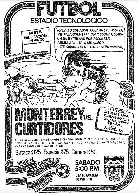 Publicidad del partido entre Rayados de Monterrey y el Unión de Curtidores